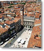 Tower View Of Piazza Delle Erbe In Verona Italy Metal Print