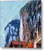 Towering Cliffs And Houses Metal Print