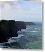 Towering Sea Cliffs In Ireland's County Clare Metal Print