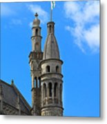 Towers Of The Town Hall In Bruges Belgium Metal Print