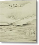 Towing A Barge In The Snow Metal Print