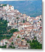 Town Clinging To A Hill Top In Southern Italy Metal Print