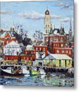 Town Hall Gloucester In Winter Metal Print