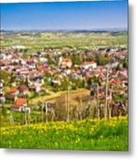 Town Of Ivanec Aerial Springtime View Metal Print