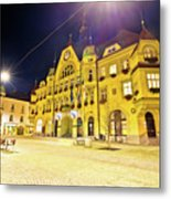 Town Of Ptuj Historic Main Square Evening View Metal Print