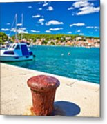 Town Of Tisno Harbor And Waterfront Metal Print