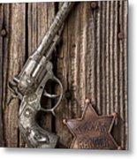 Toy Gun And Ranger Badge Metal Print