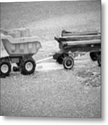 Toy Truck In Black And White Metal Print