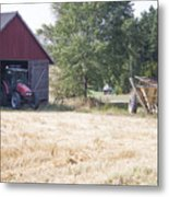 Tractor At A Wheat Field Metal Print
