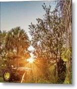 Tractor At Sunset Metal Print