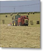 Tractor Bailing Hay In A Field At Harvest Time Pt Metal Print
