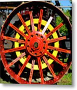 Tractor Big Wheel Metal Print