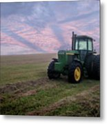 Tractor In A Field - Early Morning Metal Print