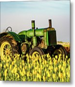 Tractor In A Field Metal Print