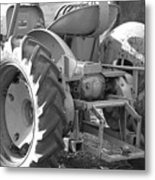 Tractor In Black And White  Metal Print