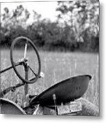 Tractor In Long Grass Metal Print