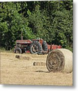 Tractor In The Hay Field Metal Print