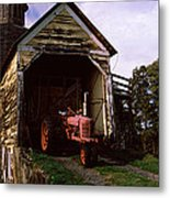 Tractor Parked Inside Of A Round Barn Metal Print