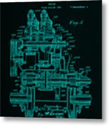 Tractor Patent Drawing 7f Metal Print