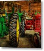 Tractors At Rest - John Deere - Mccormick - Farmall - Farm Equipment - Nostalgia - Vintage Metal Print