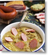 Traditional Dutch Pea Soup And Ingredients On A Rustic Table Metal Print