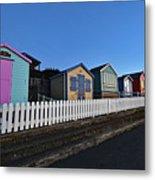 Traditional English Beach Huts Metal Print