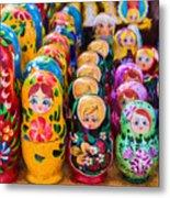 Traditional Russian Matrushka Nesting Puzzle Dolls Metal Print