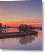 Traditional Windmills At Sunrise, Kinderdijk, The Netherlands Metal Print