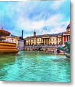 Trafalgar Square Fountain London 5 Art Metal Print