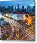 Traffic Light Trails In Singapore Chinatown Metal Print