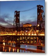 Traffic Light Trails On Steel Bridge Metal Print