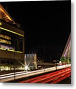 Traffic Racing Over Zakim Bridge Metal Print