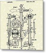 Traffic Signal 1922 Patent Art Metal Print
