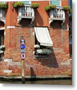 Traffic Signs On The Canal In Venice Italy Metal Print