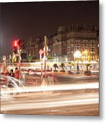 trail lines over the Liffey Metal Print