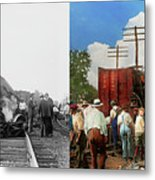 Train - Accident - Butting Heads 1922 - Side By Side Metal Print