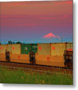 Train And Mount Baker Metal Print