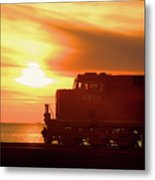 Train And Sunset Metal Print