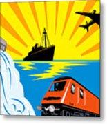 Train Boat Plane And Dam Metal Print