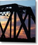 Train Bridge Sunset Metal Print