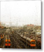 Train In The Rain Metal Print