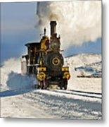Train In Winter Metal Print