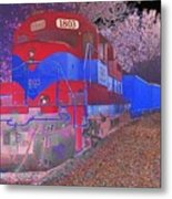 Train On Railroad Tracks - Abstract In Blue And Red Metal Print