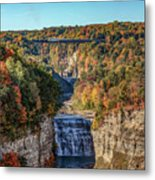 Train Over Letchworth Metal Print