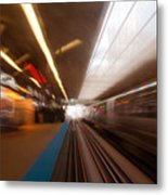Train Station In Motion Metal Print