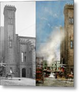 Train Station - Look Out For The Train 1910 - Side By Side Metal Print