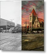 Train Station - Ny Central Railroad Depot 1905 - Side By Side Metal Print