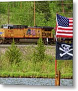 Train The Flags Metal Print
