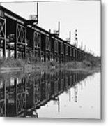 Train Track Reflections Metal Print