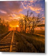 Train Track Sunrise Metal Print